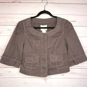 Anthropologie Cidra Brown Cropped Blazer Sz 8 NWT